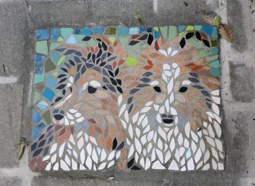 mosaïque,trottoir,schaerbeek,quartier terdelt,chiens,balade en ville