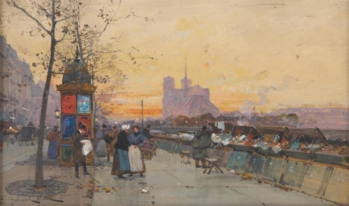 Eugène Galien-Laloue (1854-1941) Vue de Notre-Dame, quai de Montebello.jpg