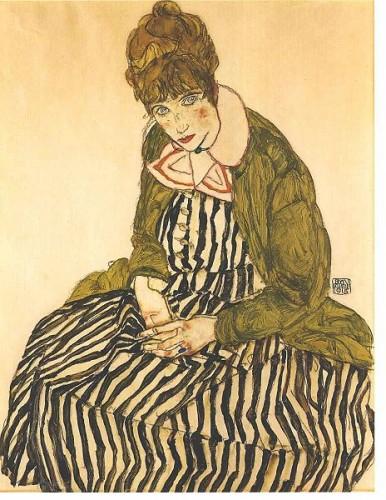 Schiele, Portrait d'Edith Schiel assise en robe rayée (sur Wikimedia commons).jpg