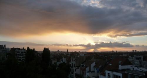 soir,couchant,ciel,soleil,couleurs,spectacle,nature,ville,bruxelles,coucher de soleil,culture