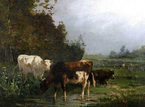 Cortès André, Vaches à la mare.jpg