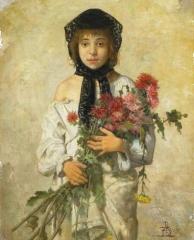 RFL Fillette aux fleurs Ecole belge vers 1900 (2).jpg
