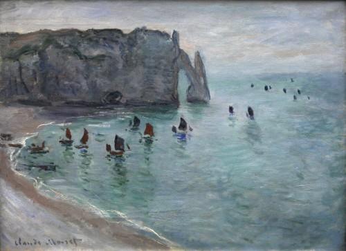 Monet Claude, Étretat, la porte d'Aval bateaux de pêche sortant du port 1918.jpg