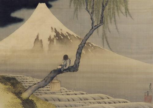Hohusai Garçon contemplant le mont Fuji.jpg
